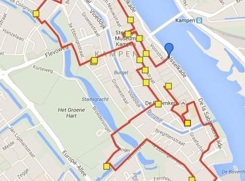 routekaart struikelen in Kampen